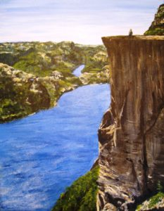 Preikestolen, rock, water, Norway, landscape