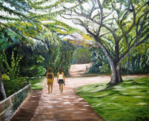 Hawaii, Waimea Falls Park, sisters, trees, landscape, painting, Donna Muller