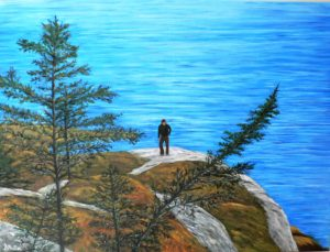 Rock, hike, Polly cove, trees, landscape, ocean, water, trail, Nova Scotia, painting, Donna Muller