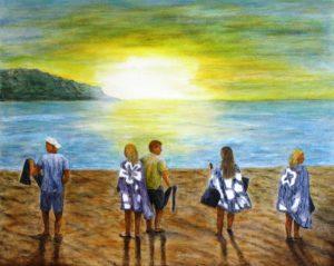 Snorkling, hawaii, family, sunrise, ocean, Donna Muller