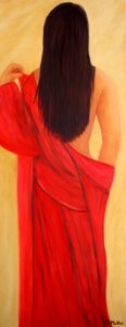 Lady in Red, Red, painting