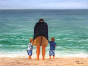 beach, twins, adult, grandpa, water, ocean, waves, florida, sanibel island