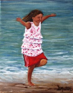 child, beach, water, ocean, playing, painting