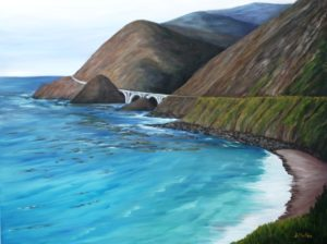 Big Sur, California, bridge, beach, water, ocean, road, mountains, landscape painting