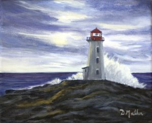 Peggy's Cove, Donna Muller, Wave, rocks, Nova Scotia, painting