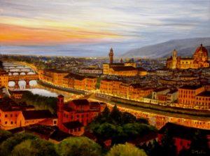 Florence painting, Donna Muller, Florence, Italy, Florence bridges, bridges, cathedral, river, evening, sunset, landscape