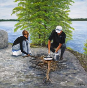 cooking, open fire, campfire, fish fry, landscape, rock, besnard lake, tree, painting, Donna Muller