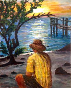 Sunset, beach, colony key, dock, tree, sand, man, acrylic painting, Donna Muller