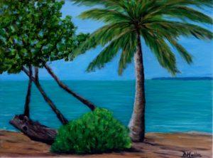 Florida, Key West, beach, tree, palm tree, Fort Zachary, Fort Zachary beach, painting