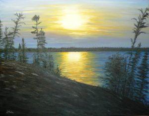LaRonge, wadin bay, sunset, rock, trees, Saskatchewan, Lac La Ronge Provincal Park