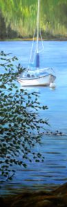 oil painting, Donna Muller, Sailboat, tree, water, ocean,