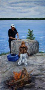 rock, fish fry, fire, campfire, water, lake, besnard lake, fishing