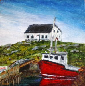 Peggy's Cove, lobster fishing boat, red boat