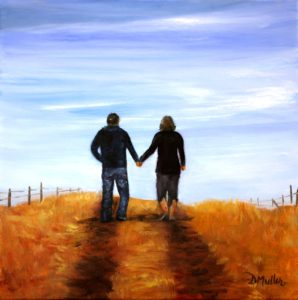 Trail, road, Alberta, walking, hand in hand, lovers, husband and wife, sky, hill, fense, yellow, blue, landscape, painting, okotoks