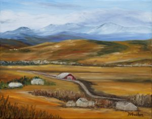 okotoks, Alberta, red, barn, road, landscape, hillside, mountains, rocky mountains, cloud, yard sites, houses, landscape painting