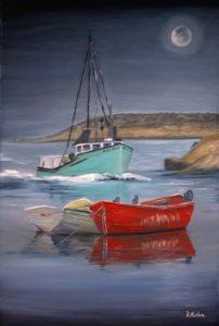 Peggy's Cove, lobster fishing boats, boats, evening, moon light, full moon, oil painting, Donna Muller, teal boat, fishing boat, Nova Scotia