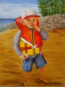 Beach, lifejacket, child, portait painting