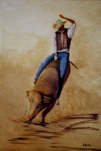 Bull riding, rodeo, painting, oil painting, rider, hat, bull