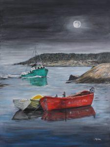 Peggy's Cove, Nova Scotia, evening, boats, ocean, Donna Muller, rocks, night, lobster boats