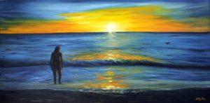 sunset, water, ocean, blue