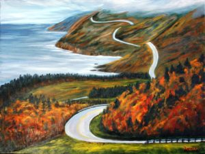 Cape Breton, highway, Cabot trail, painting, Donna Muller, fog, fall, colours, trees, landscape, hills, ocean, water, road