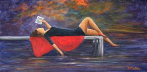 Lady, red, reading, book, wharf, water, purple, relaxing, painting, Donna Muller