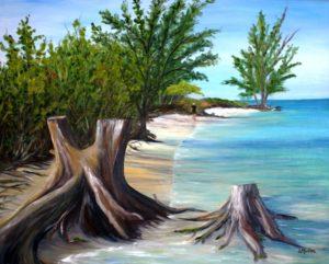 Beach, Boca Grande, Florida, walk, water, ocean, sand, landscape, oil painting, Donna Muller
