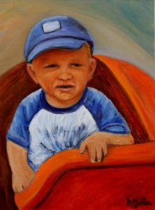 small child, painting, portrait, hat, ride