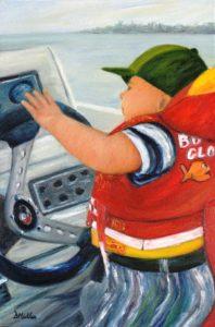 Fishing, boat, life jacket, driving,