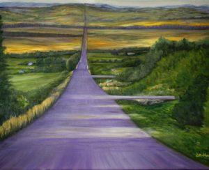 Road, okotoks, alberta, acreages, painting, purple