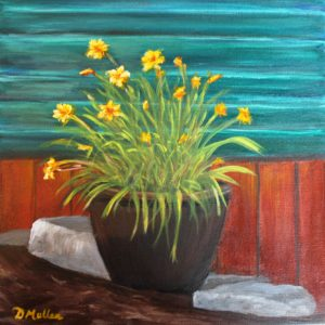 planter, pot, day lilies, lily, rock, Donna's Gallery, Donna Muller