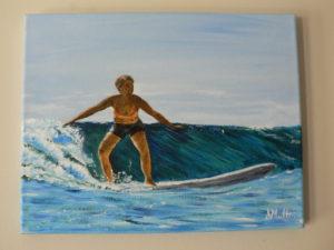 surfing, hawaii, wave, ocean, painting