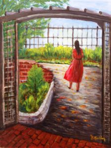 Key west, lady in red, florida, painting, lobster trap frame, park, gardens