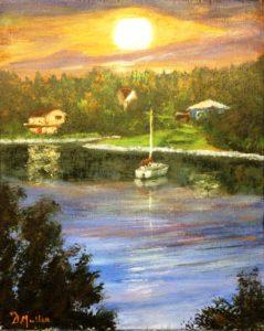 Bayside, sunrise, sailboat, ocean, landscape, shad bay, Nova Scotia, painting, artist, Donna Muller
