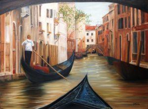 Gondola, Venice, Italy, artist Donna Muller, landscape, canals, bridge, buildings