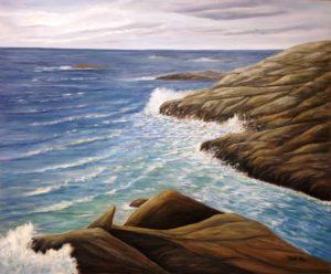Crashing waves, rock, water, high head, prospect, Nova Scotia, artist Donna Muller, ocean, oil painting, landscape painting, ocean painting