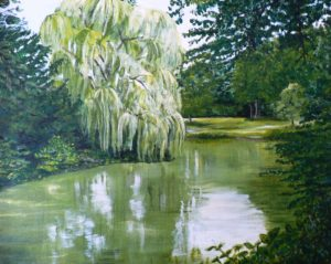 Havixbeck, Germany, castle, moat, water, green, park, grounds, weeping willow