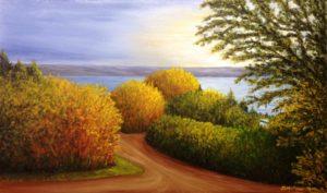 Buena Vista, Regina Beach, morning sun, sunrise, trees, water, last mountain lake, saskatchewan artist donna muller